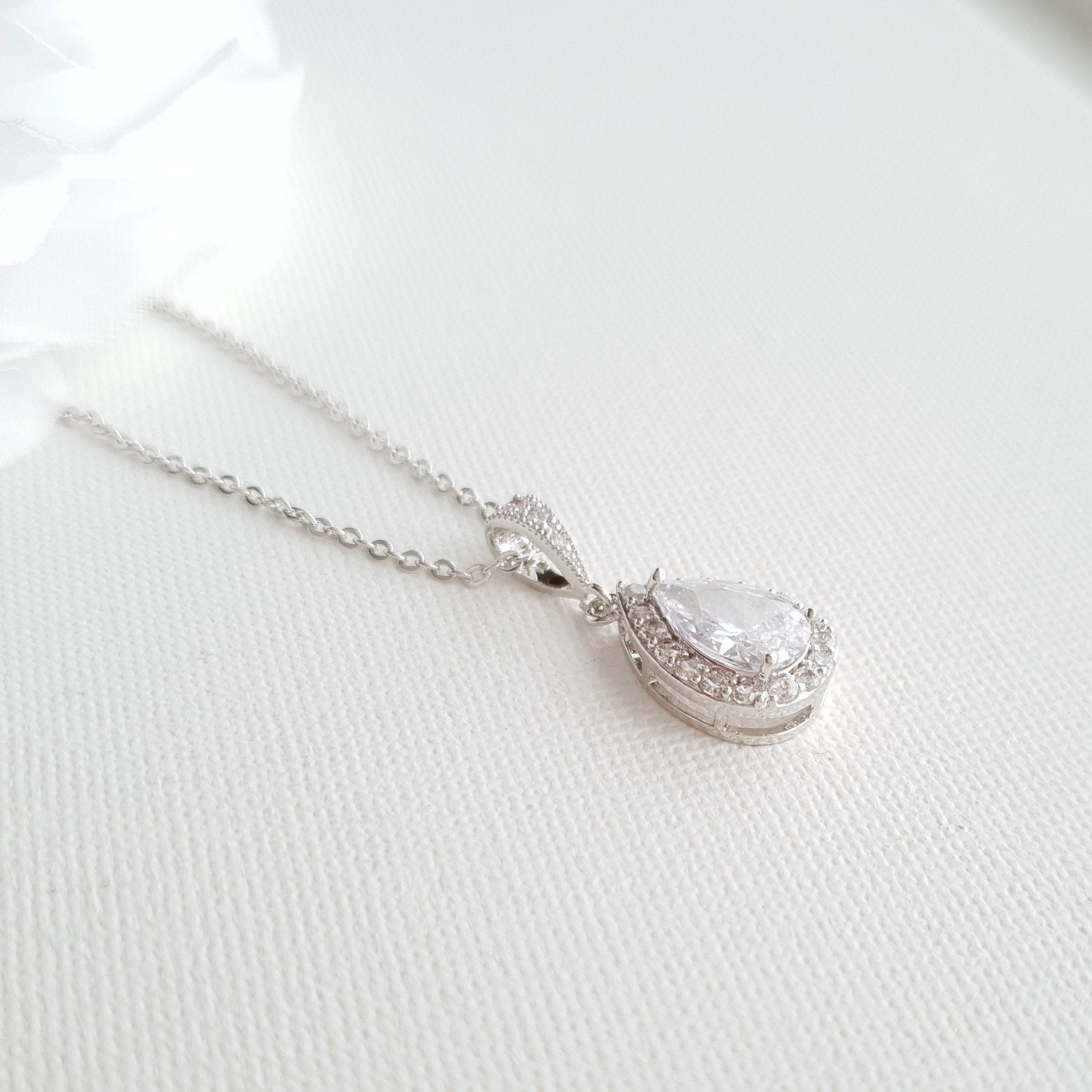Teardrop Bridal & Bridesmaids Pendant Necklace-Emma - PoetryDesigns