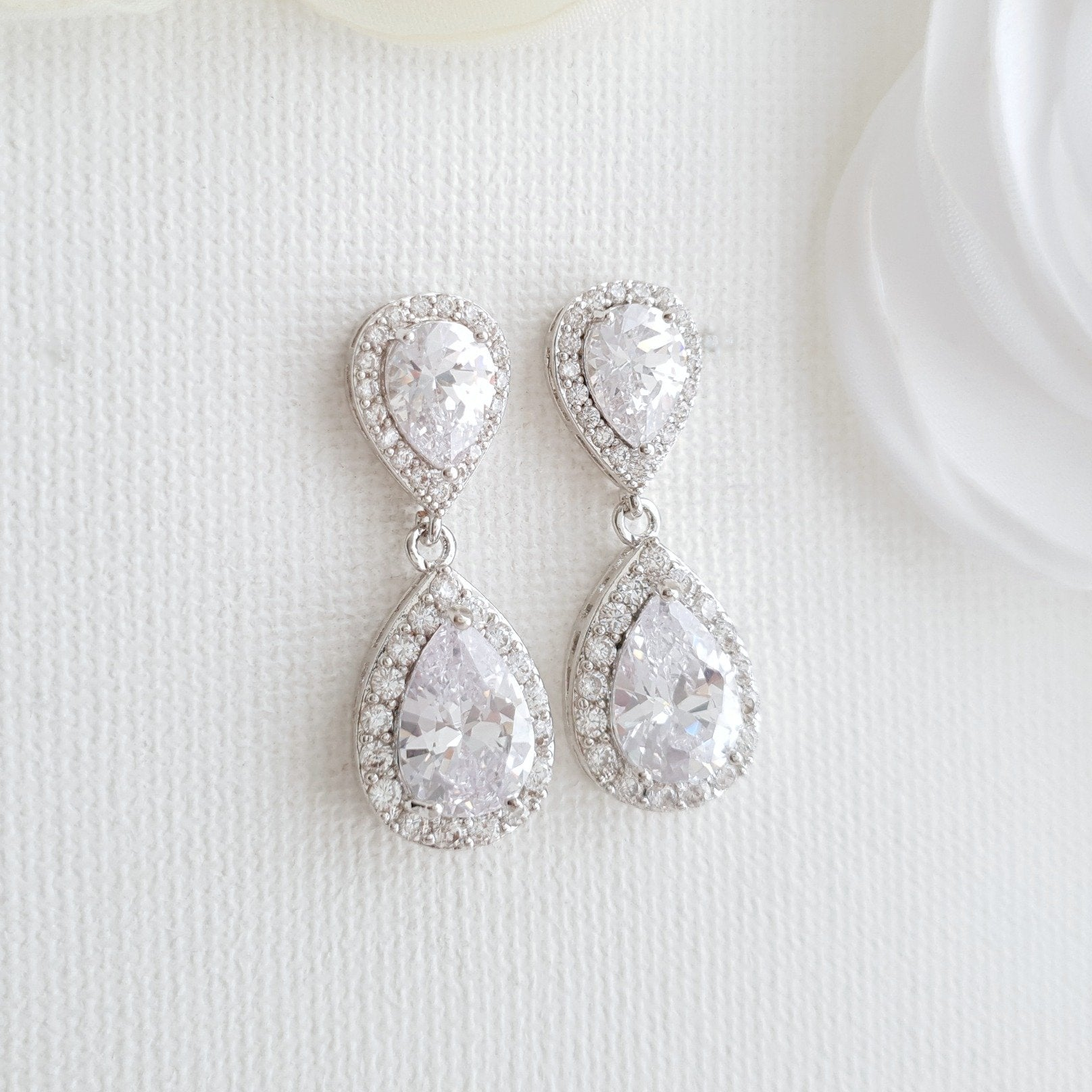 Silver Teardrop Earrings-Emma