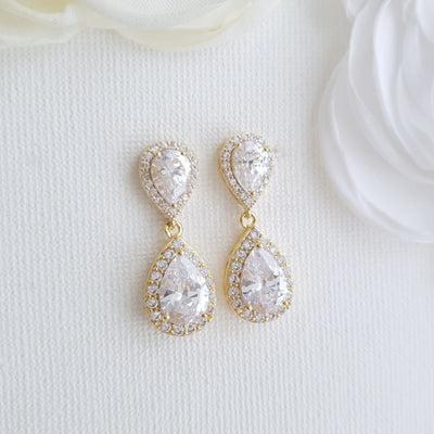 Gold Teardrop Earrings-Emma