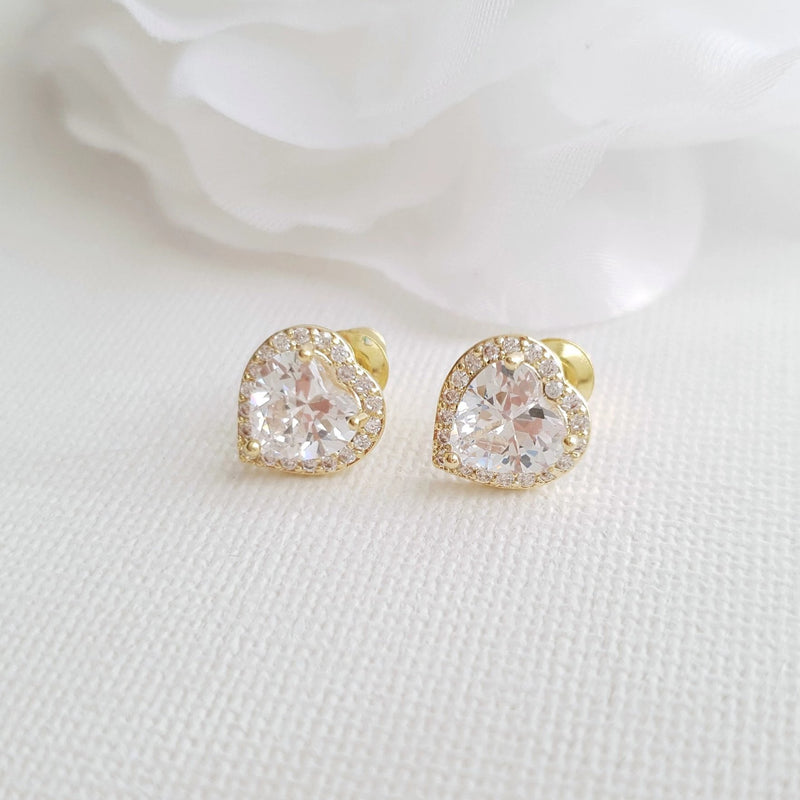 14K Gold Cubic Zirconia Heart Earrings Studs -Diana