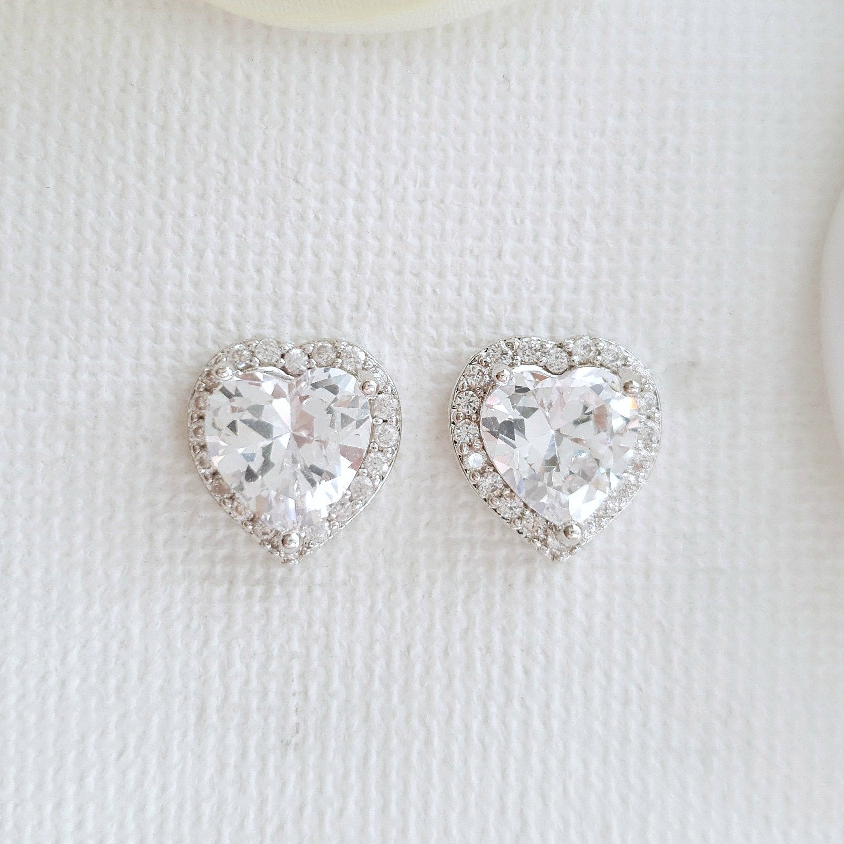 Cubic Zirconia Heart Earrings for Bridesmaids-Diana - PoetryDesigns