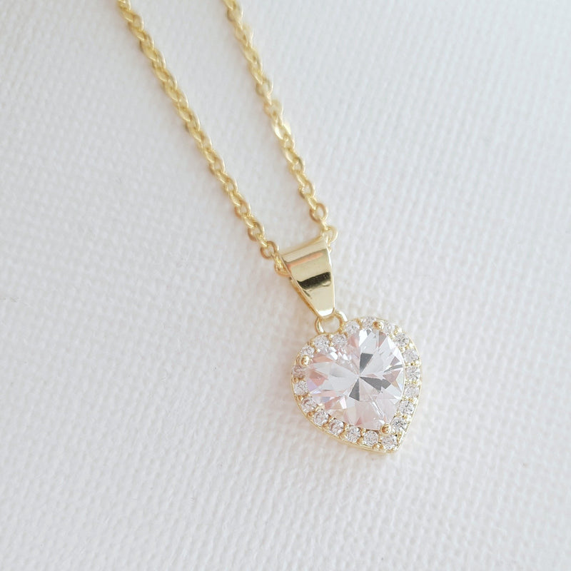 Gold Chain Heart Necklace Pendant- Diana