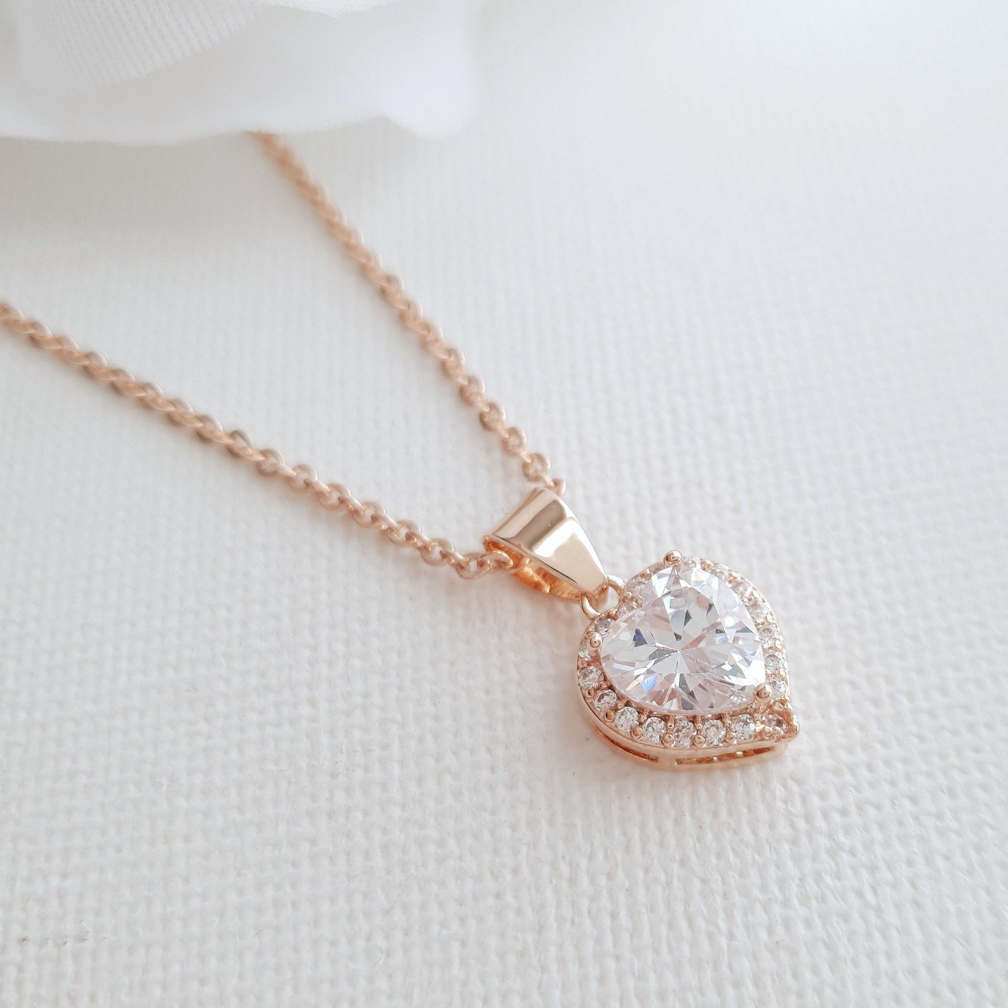 Rose Gold Heart Necklace- Diana - PoetryDesigns