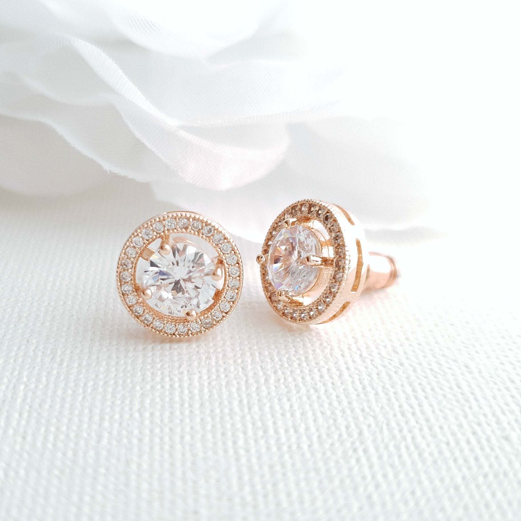 Rose Gold Round Stud Earrings- Denise - PoetryDesigns