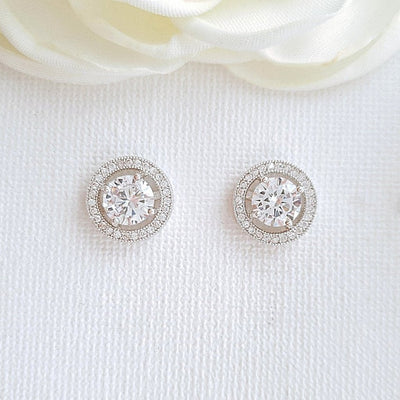 Round Stud Earrings Silver- Denise