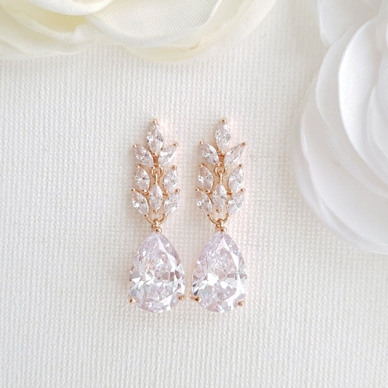 Rose Gold Leaf Earrings-Willow