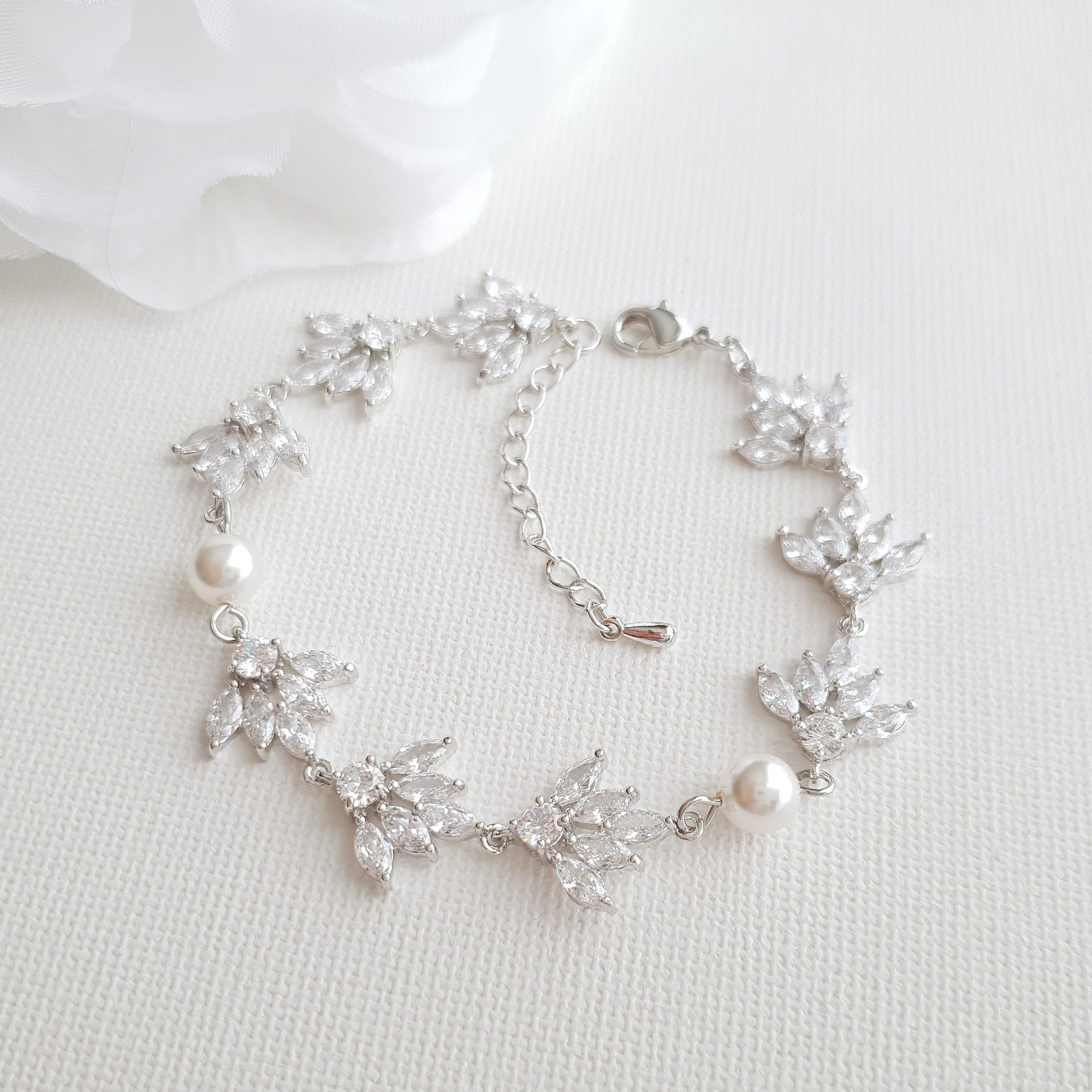 Silver Cubic Zirconia Marquise Bracelet with Pearls-Rosa