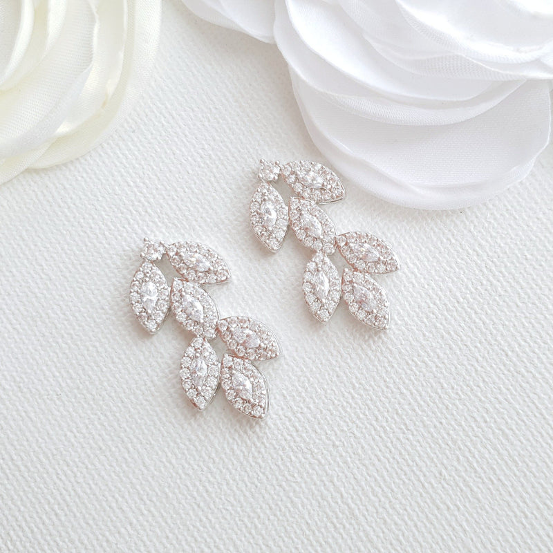 Leaf Stud Earrings Silver- Abby