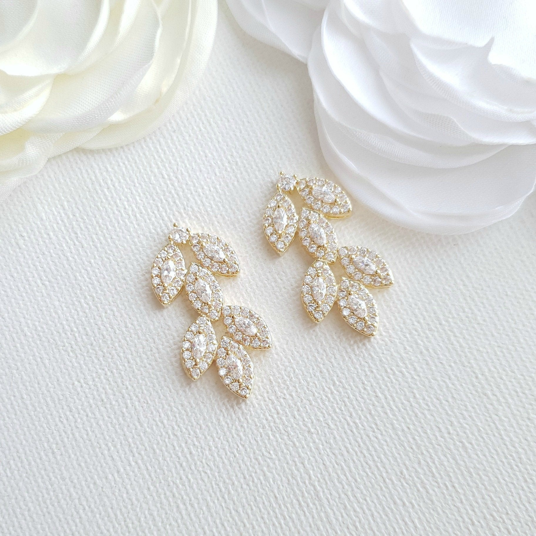 Cubic Zirconia Gold Leaf Stud Earrings- Abby - PoetryDesigns