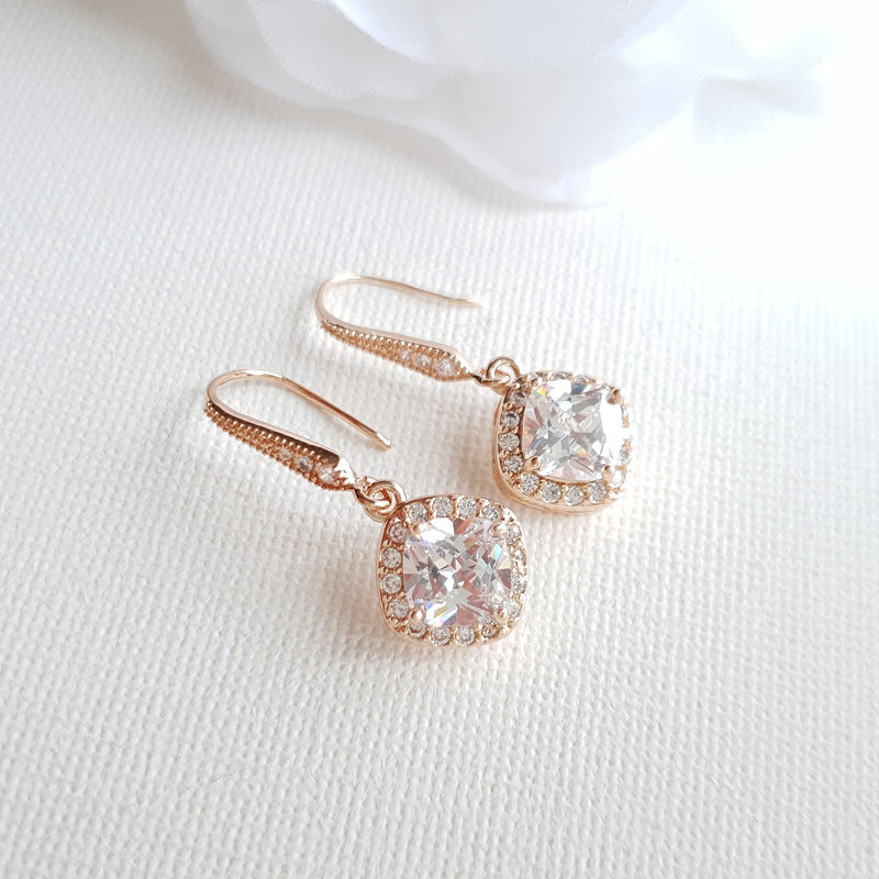Rhombus Dangle Earrings in Rose Gold- Celia