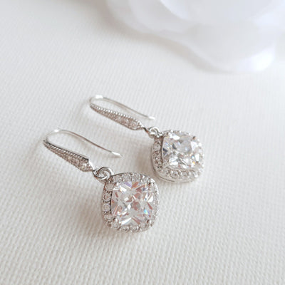 Rhombus Shaped Silver Drop Earrings- Celia