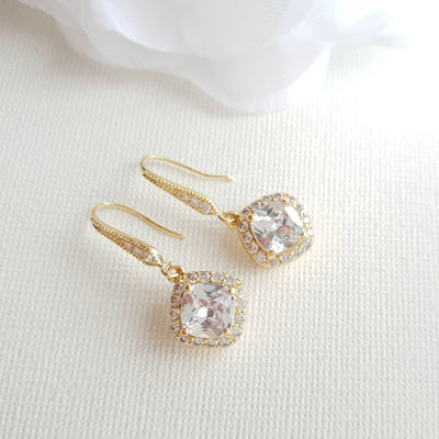 Rhombus Earrings in 14K Gold Plating- Celia
