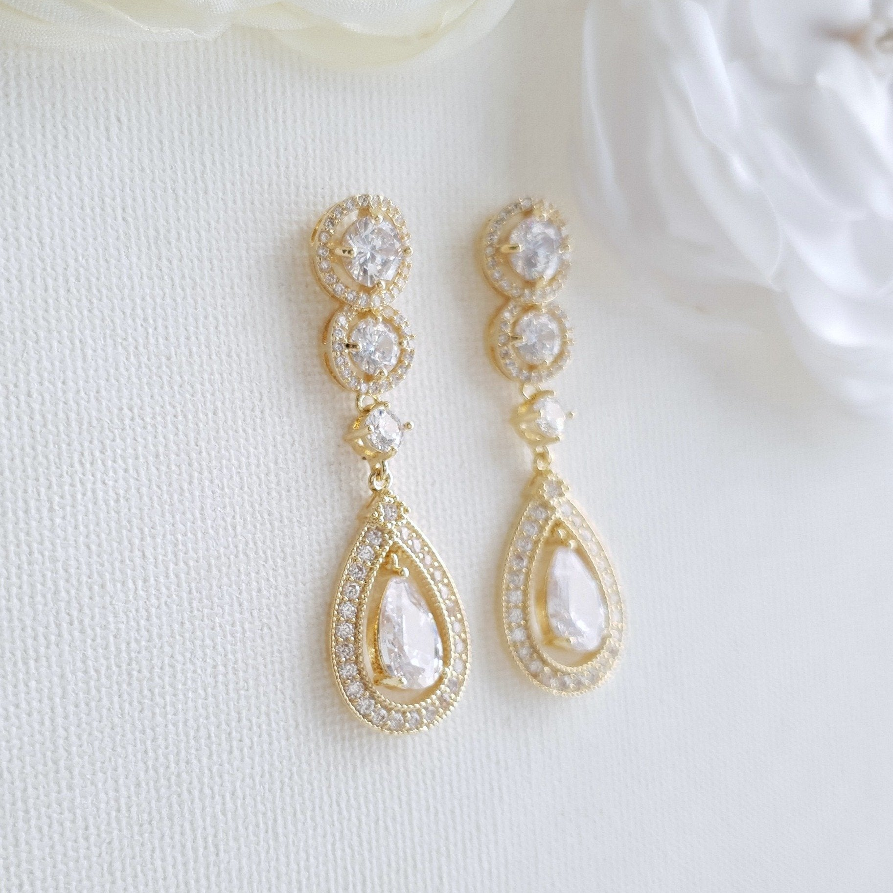 14k Gold Plated Cubic Zirconia Bridal Earrings- Sarah - PoetryDesigns
