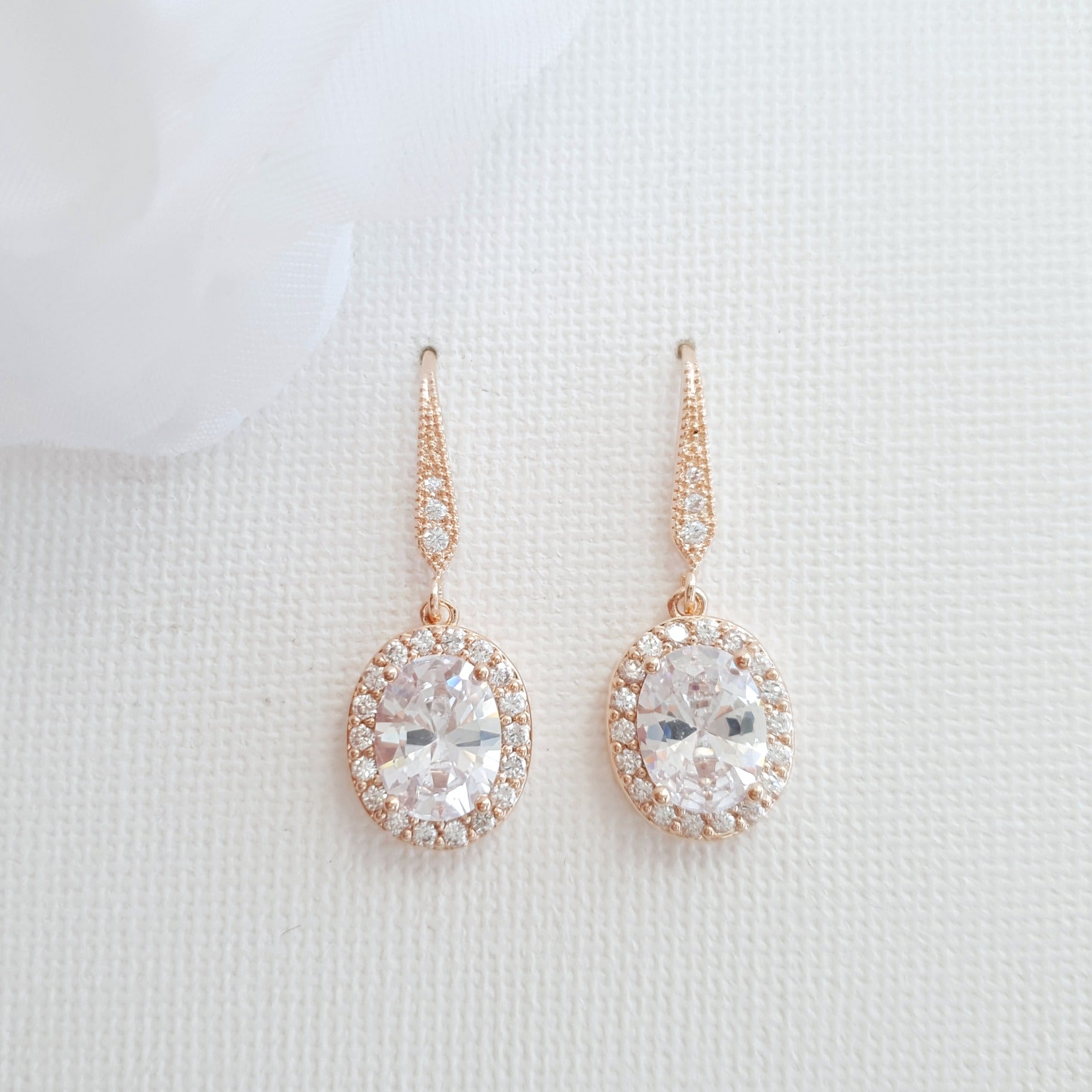 Oval Shaped Small Rose Gold Dangle Earring-Emily