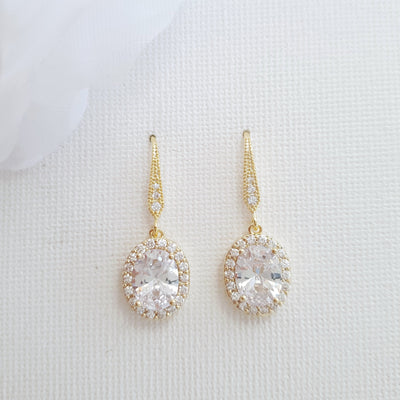 Small Dangle Earrings with Oval Drops-Emily