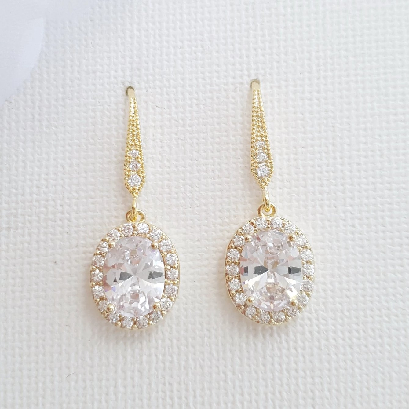 Small Gold Dangle Earrings With Oval CZ Drops-Emily