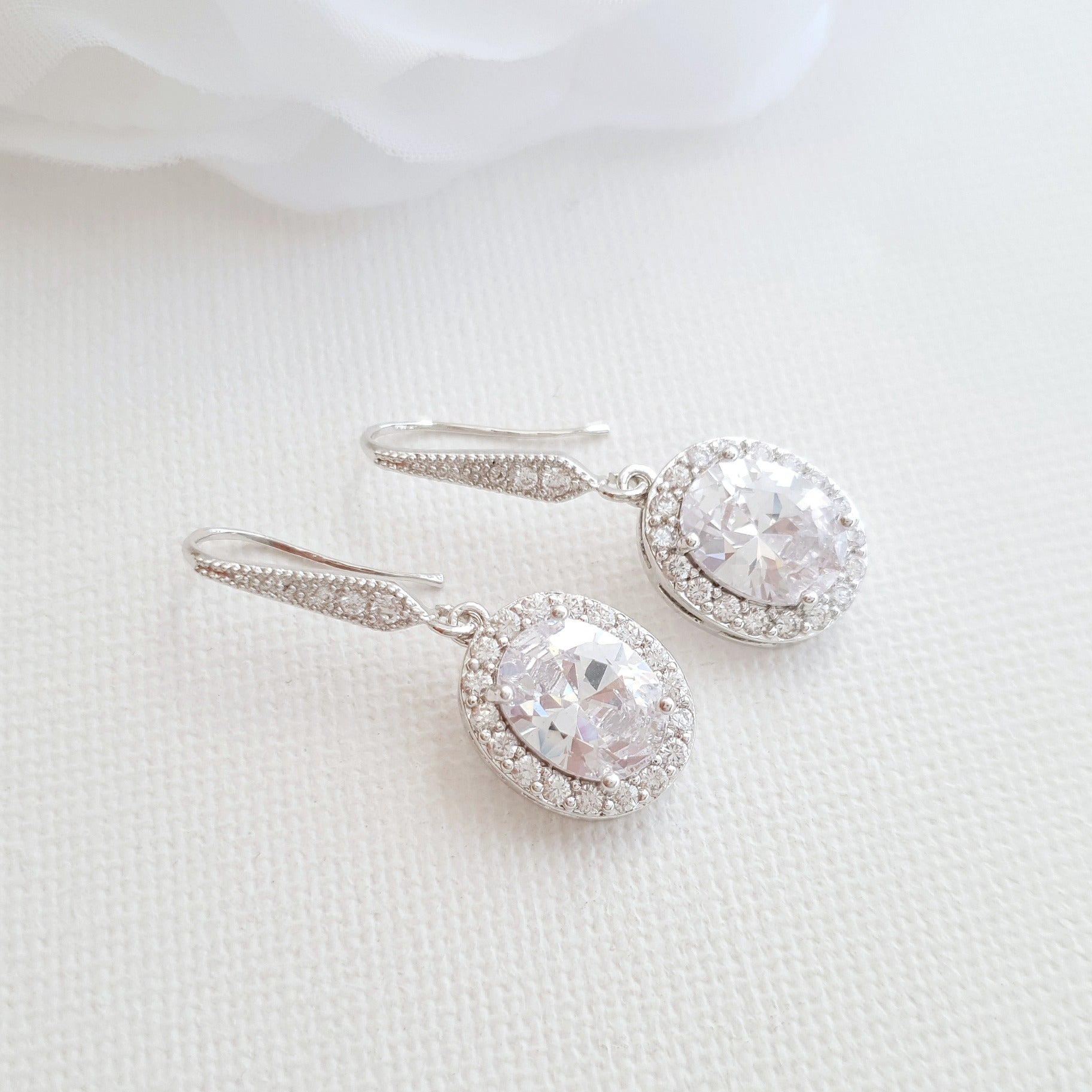 small dangle earrings Silver for Brides & Bridesmaids- Poetry Designs