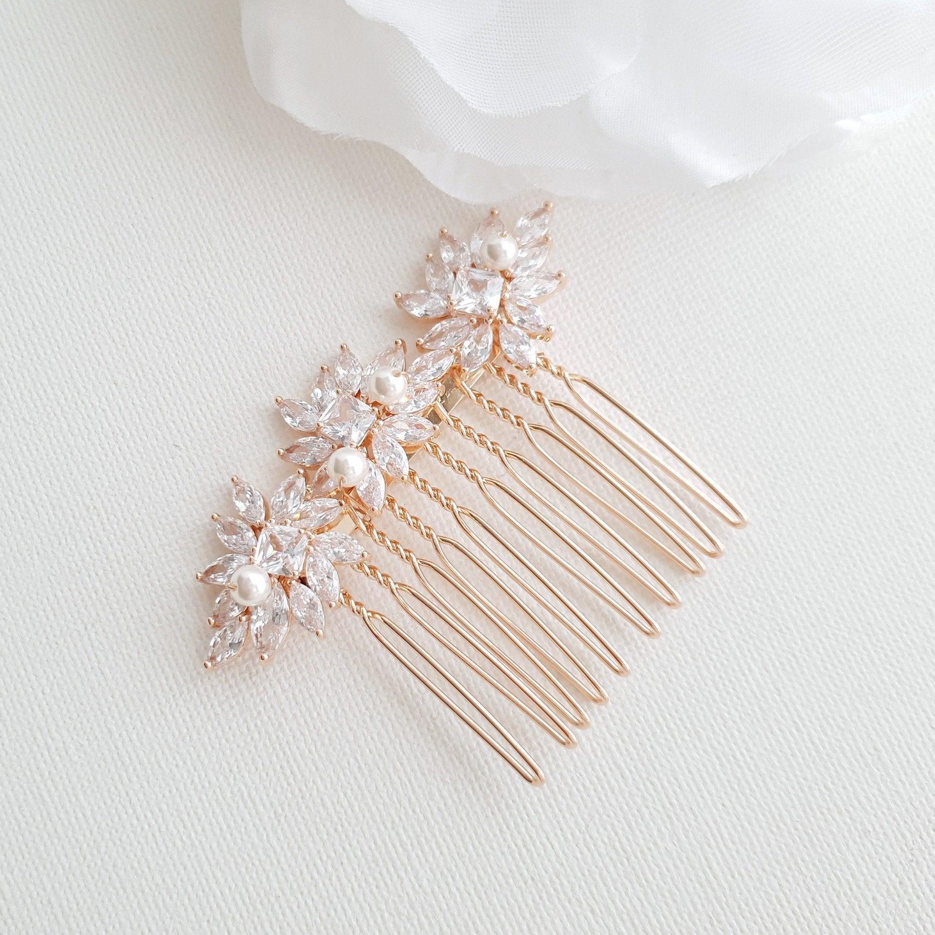 Rose Gold Hair Combs for Brides- Bridget - PoetryDesigns