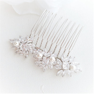 Crystal Flower Gold Hair Comb for Weddings-Bridget