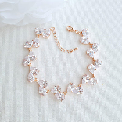 Rose Gold Teardrop Wedding Bracelets- Clara