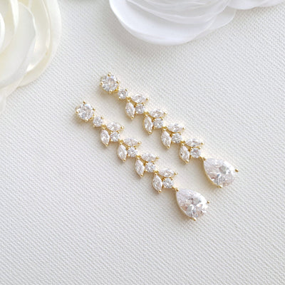 Marquise Crystal Earrings in Gold- Kira