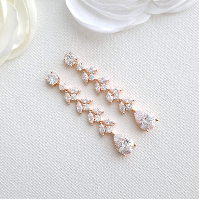 Marquise Bridal Earrings in Rose Gold- Kira