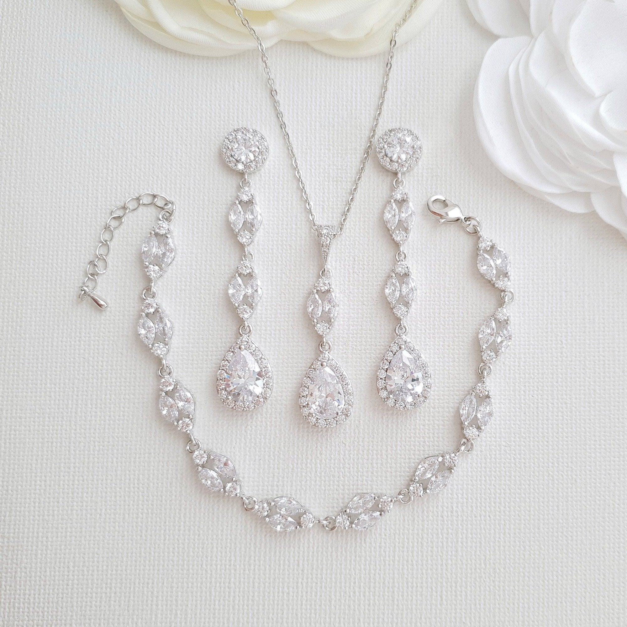 Long Earrings Drop Necklace & Bracelet Bridal Jewelry Set- Hayley - PoetryDesigns