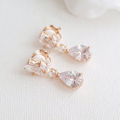 Clip on Drop Earrings Rose Gold-Nicole