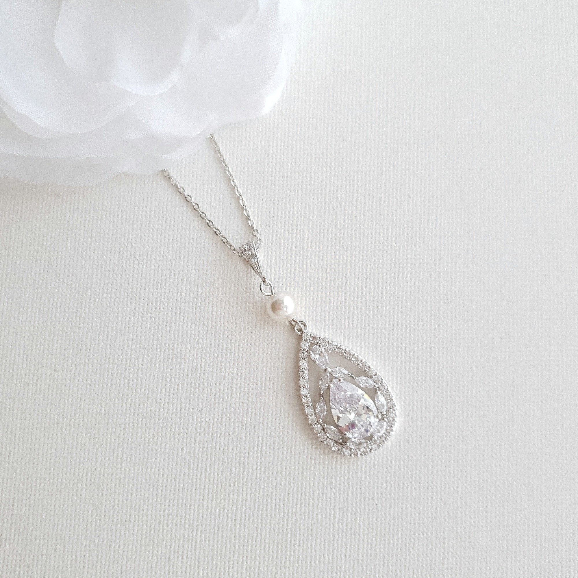 Bridal Pendant Necklace with Teardrop CZ Crystals-Esther