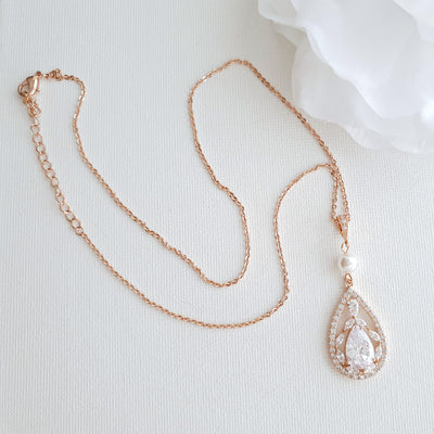 Teardrop Pendant Necklace for Wedding in Rose Gold & Pearl-Esther