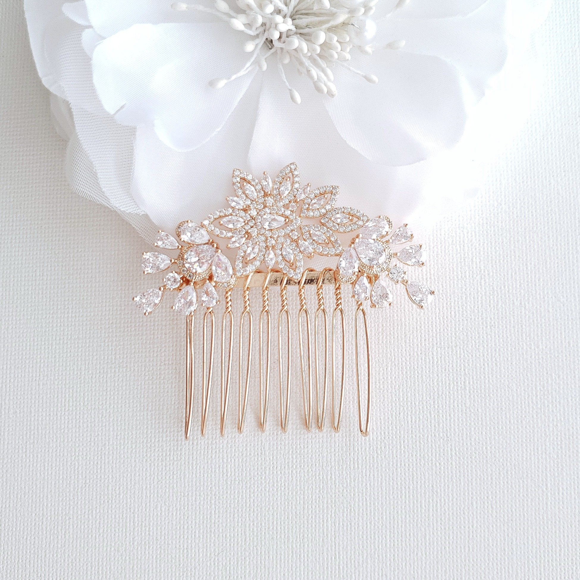 Rose Gold Diamante Hair Comb-Lara