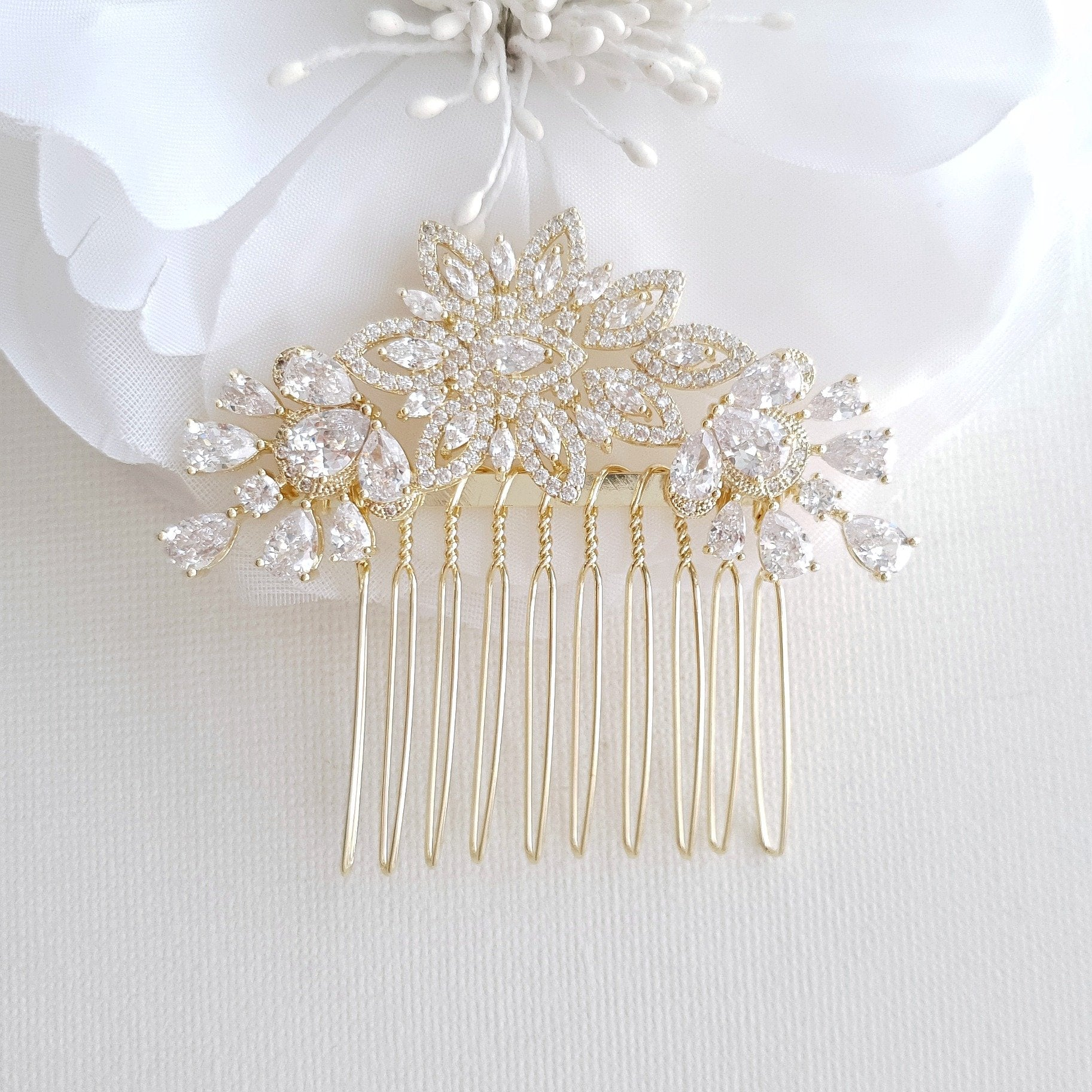 Jeweled Bridal Hair Combs- Lara - PoetryDesigns