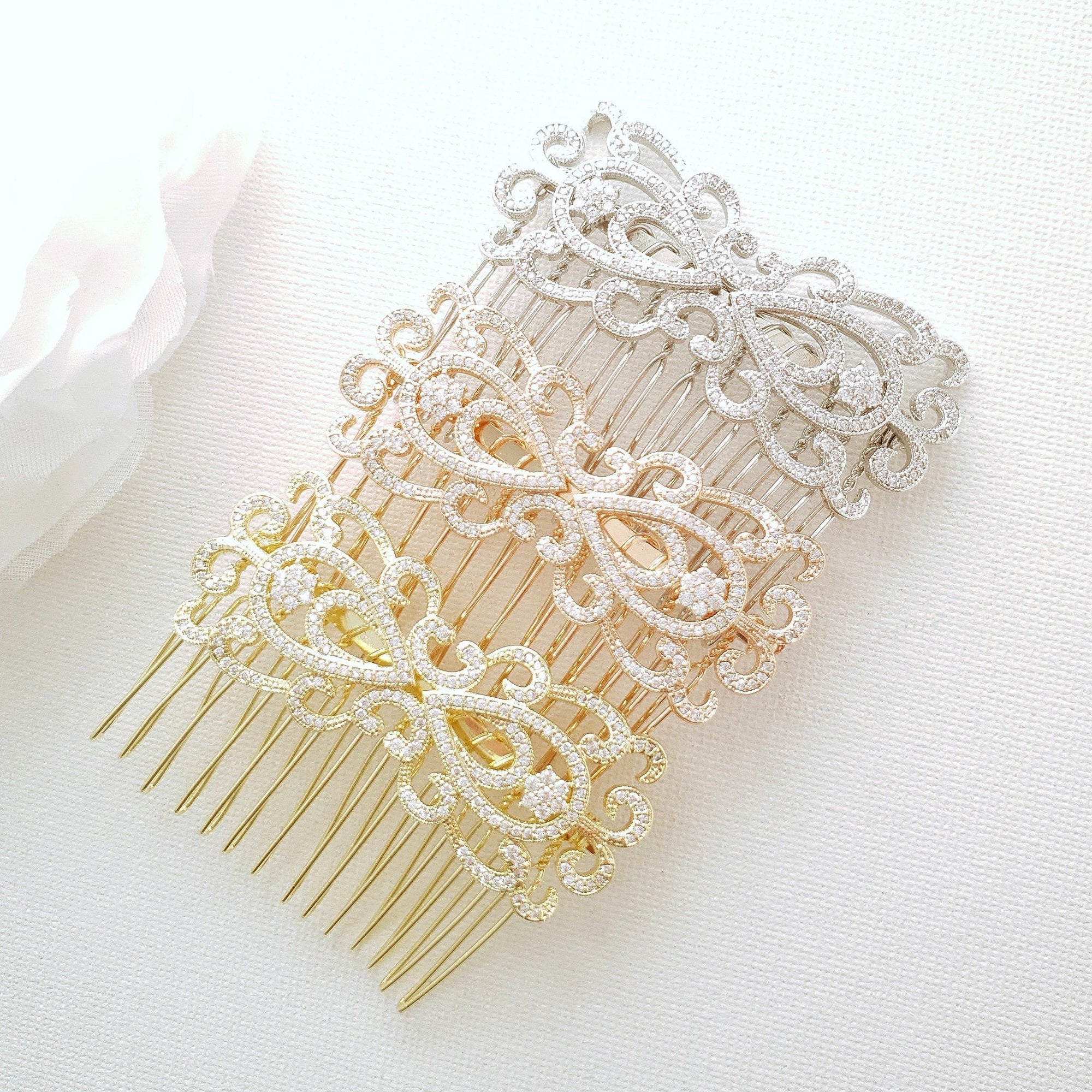 Rose Gold Vintage Bridal Hair Comb-Arletty - PoetryDesigns