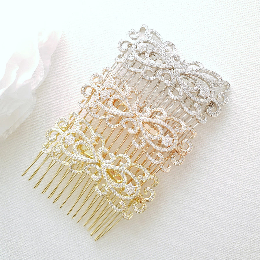 Rose Gold Vintage Bridal Hair Comb-Arletty