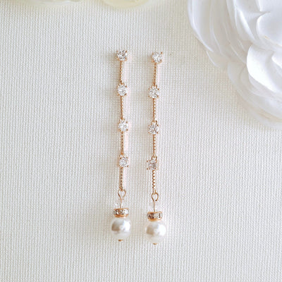 Rose Gold Long Earrings for Brides-Ginger