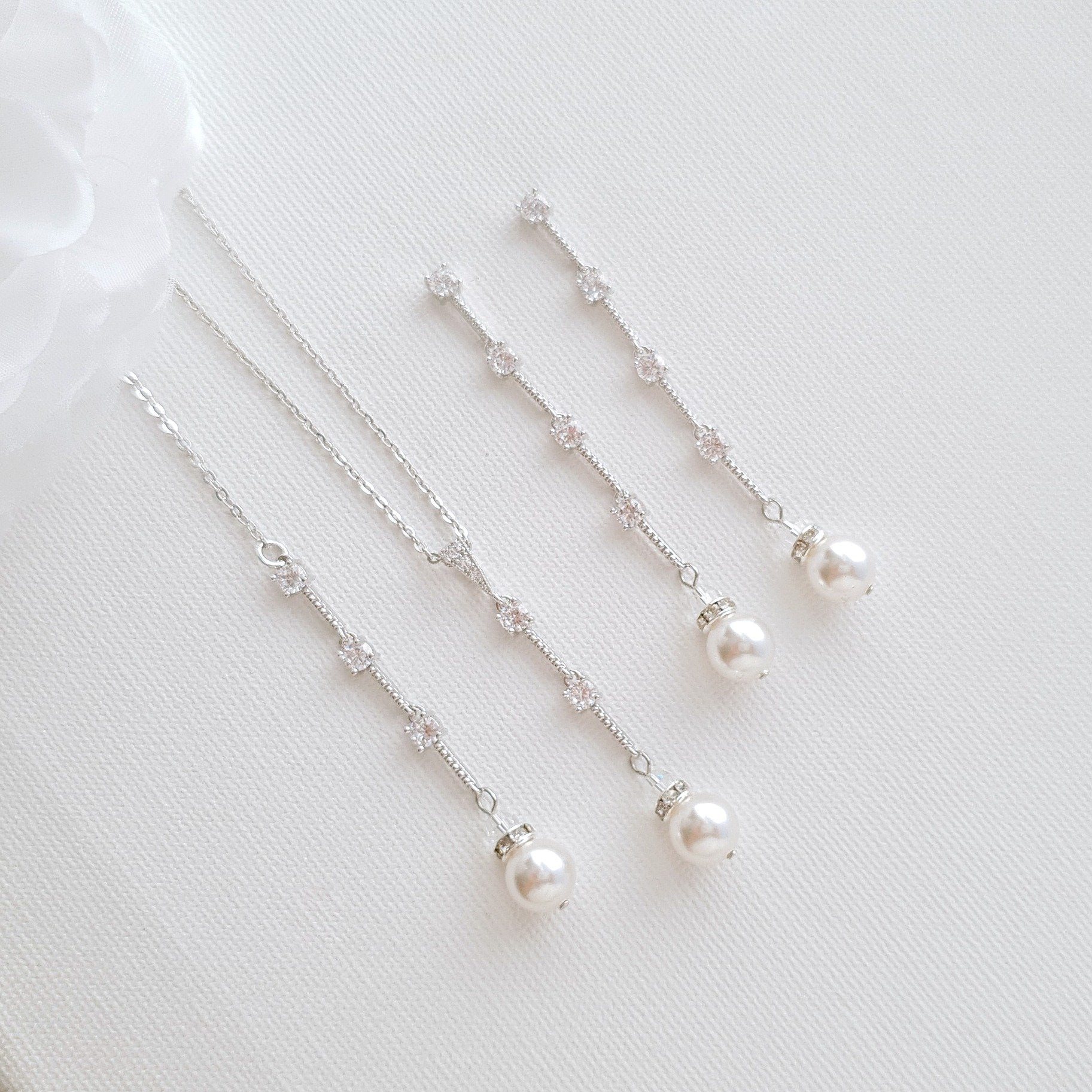 Pearl Drop Necklace Earring Jewelry Set for Weddings- Ginger - PoetryDesigns