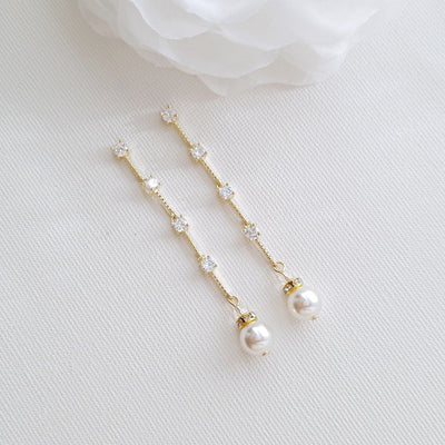 Thin Gold Necklace Earring Wedding Jewelry Set- Ginger
