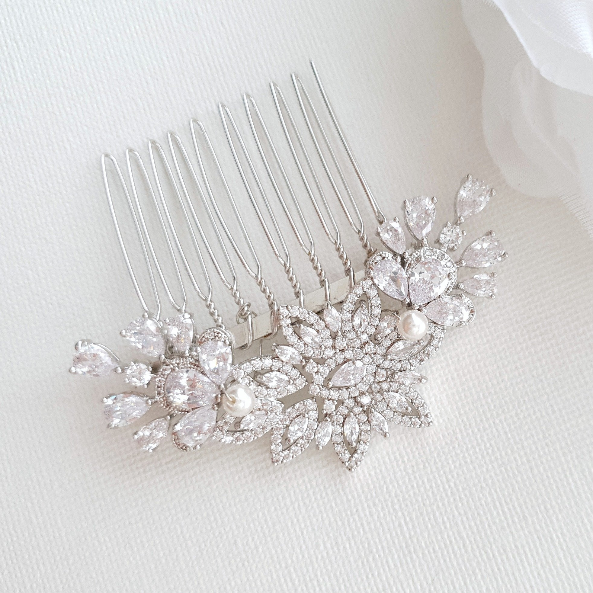 Crystal Flower Bridal Comb Headpiece-Lara - PoetryDesigns