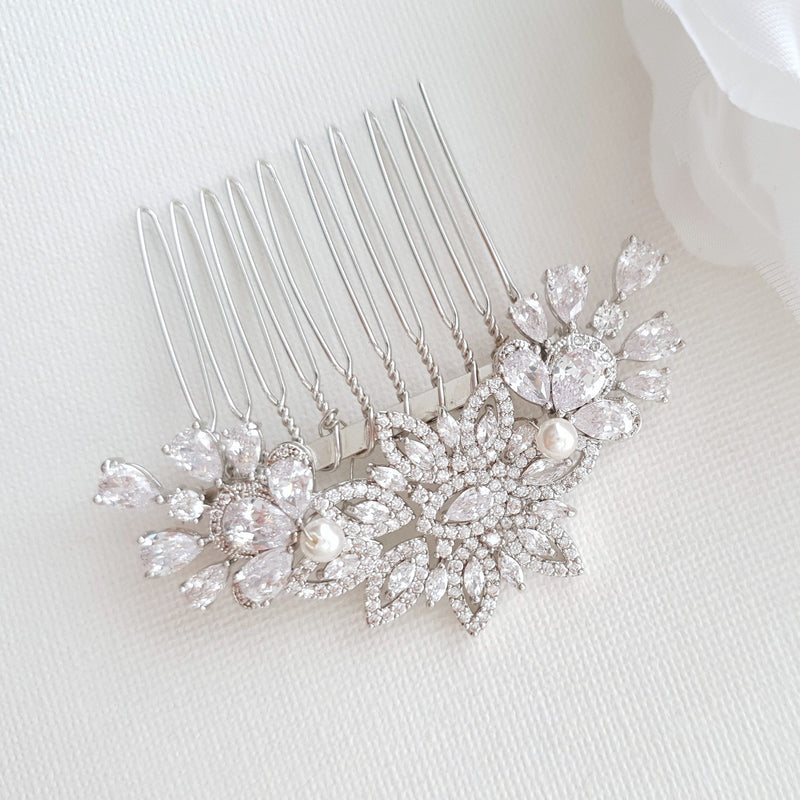 Crystal Flower Bridal Comb Headpiece-Lara