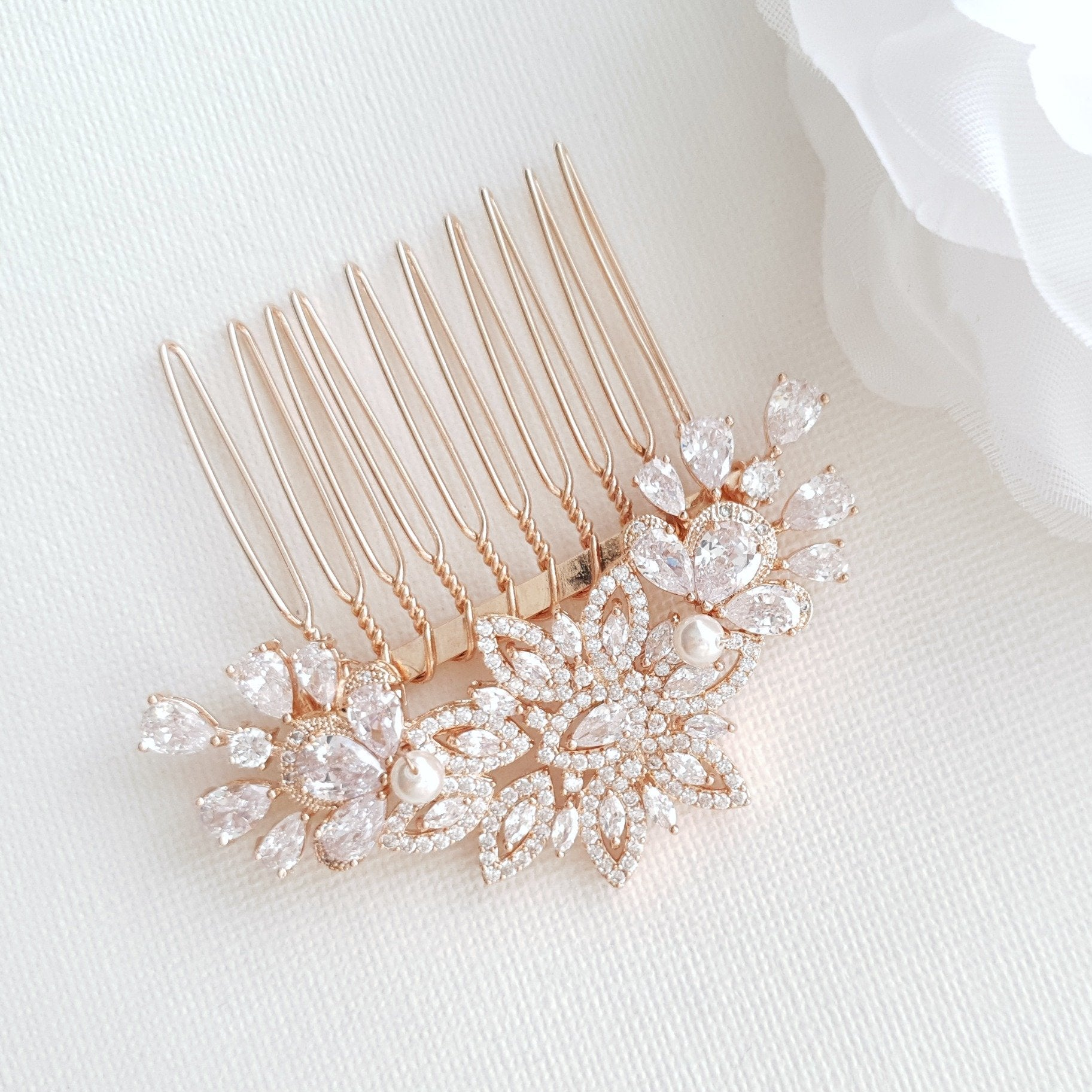 Rose Gold Diamante Hair Comb-Lara - PoetryDesigns