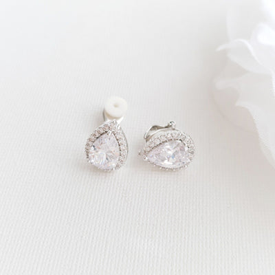 Teardrop Clip On Stud Earrings- Emma