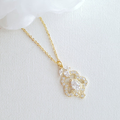 Vintage Pendant Necklace for Weddings- Norma
