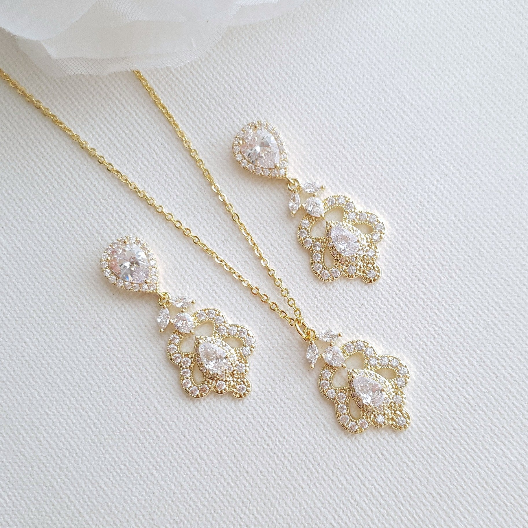 Vintage Gold Jewelry Set for Wedding- Norma - PoetryDesigns