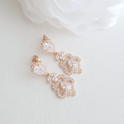 Rose Gold Vintage Earrings for Brides- Norma