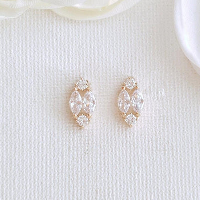 Cute Rose Gold Diamond Shaped Studs for Brides & Bridesmaids