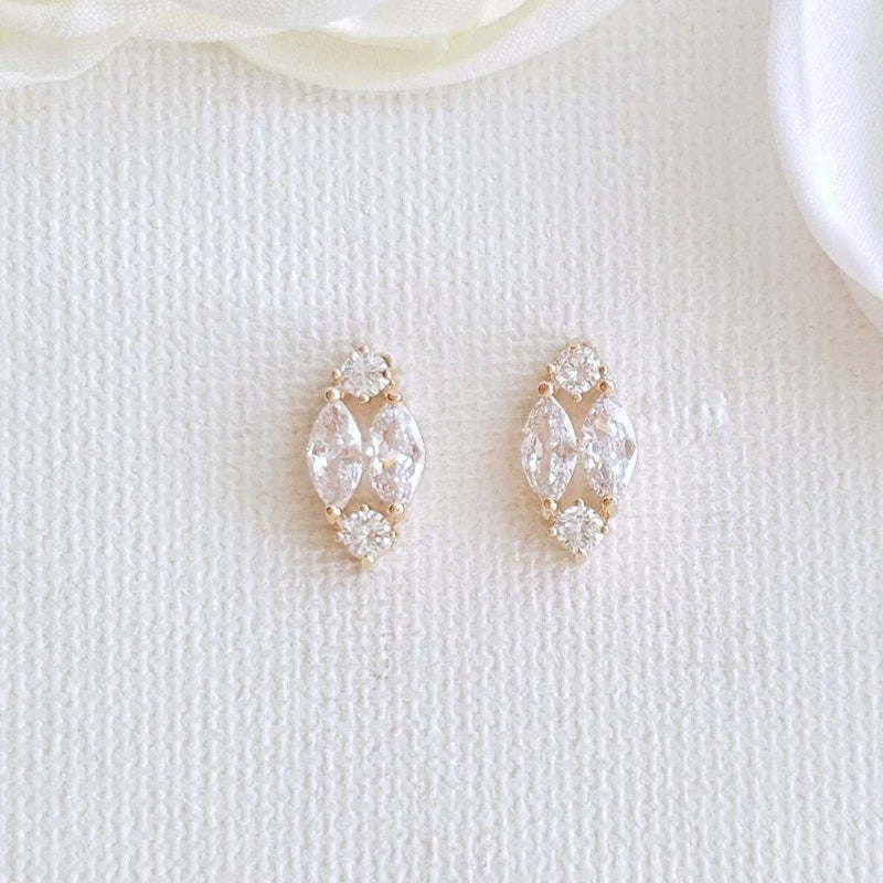 Cute Rose Gold Diamond Shaped Stud Earrings -Poetry Designs