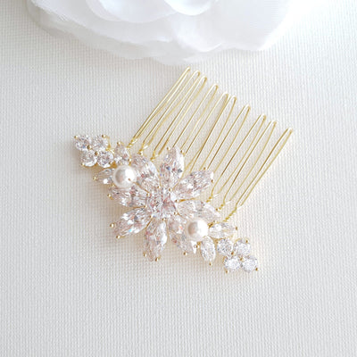 Gold Hair Combs for Weddings-Daisy