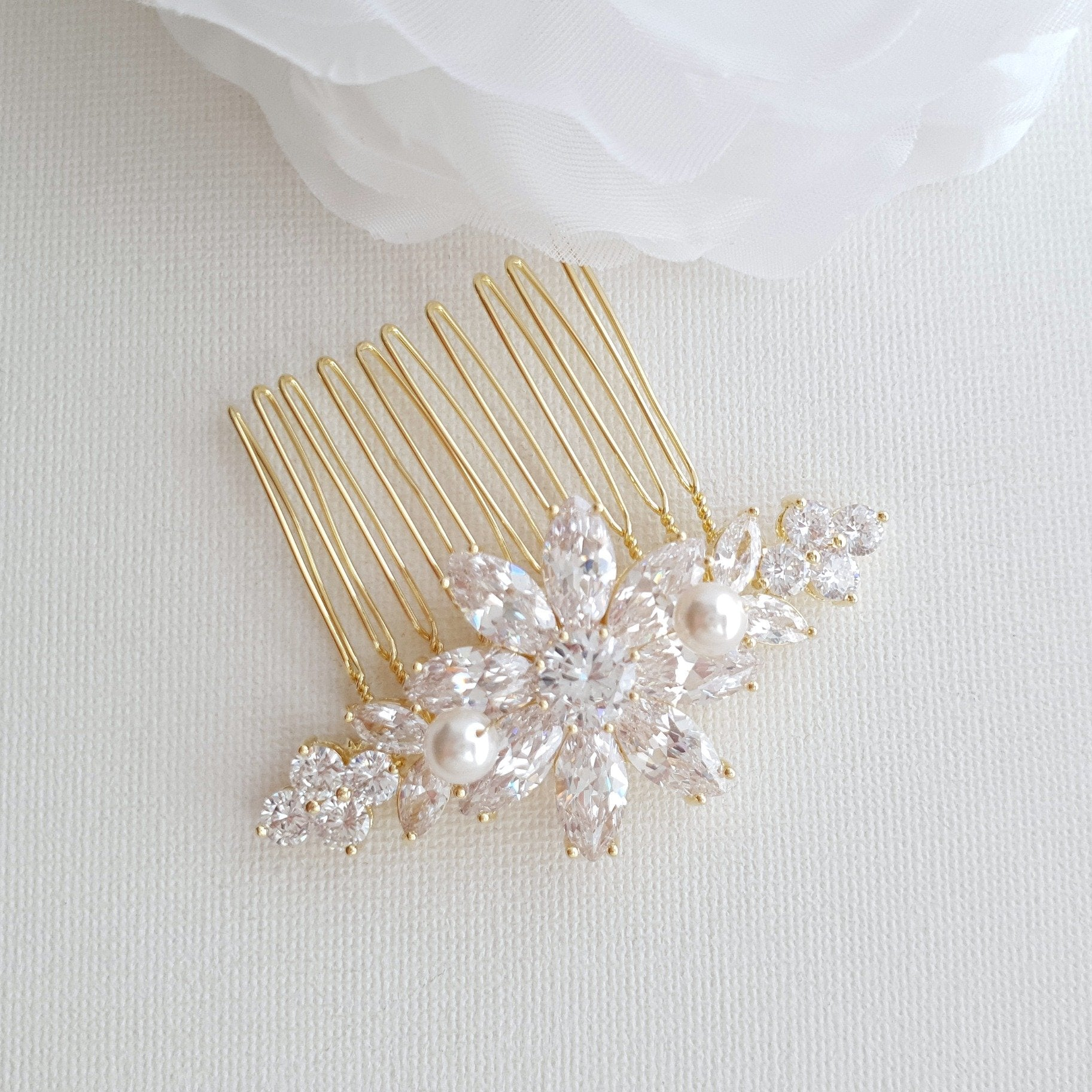 Gold Hair Combs for Weddings-Daisy - PoetryDesigns
