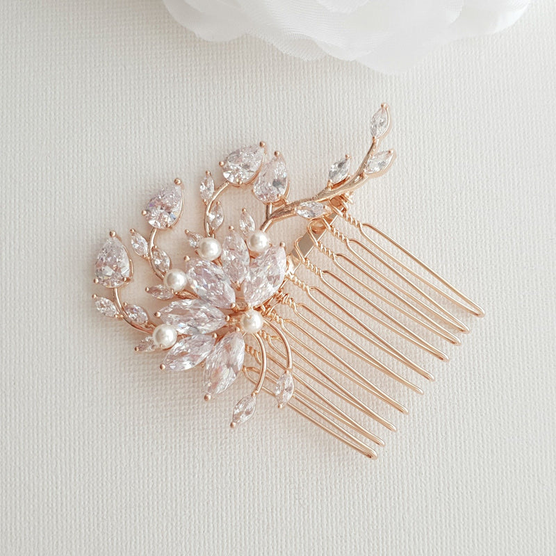 Small Flower Rose Gold Bridal Hair Comb -Kika