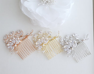 Petite Flower Hair Comb Wedding-Kika